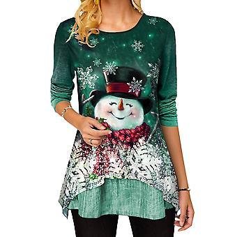 נשים חג המולד מודפס שרוול ארוך חולצת טריקו חולצת חג המולד חולצות ארוכות