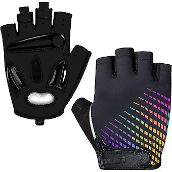 Non-slip And Shock-absorbing Touch Screen Half-finger Mountain Bike Gloves With Liquid Gel Liner-colorful Luminous