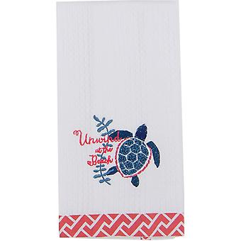 Unwind at the Beach Sea Turtle Embroidered Waffle Kitchen Dish Towel