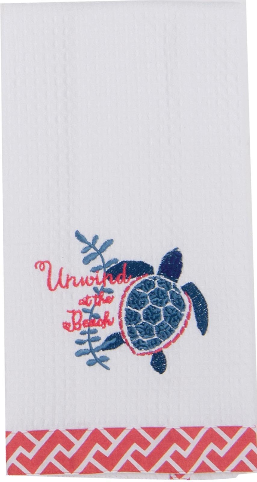 Unwind at the Beach Sea Turtle Embroidered Waffle Kitchen Dish Towel