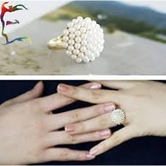 Boolavard® TM Vintage Gold-filled Mushroom Shaped Pearl Ring - White