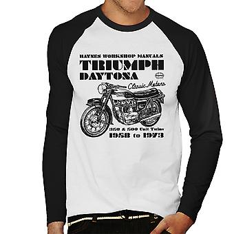Haynes Owners Workshop Manual Triumph Daytona 350 500 Men's Baseball Long Sleeved T-Shirt