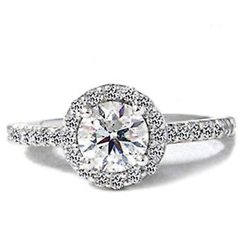 1 1/2ct Round Pave Halo Enhanced Diamond Ring 14K White Gold