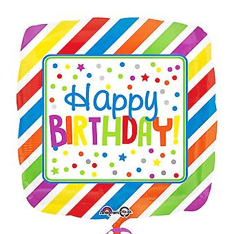 Anagram 18 Inch Square Stripes & Dots Foil Balloon