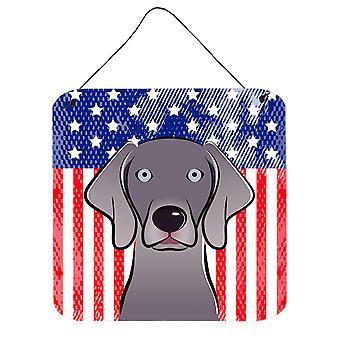 Amerykańską flagę i Wyżeł weimarski ściany lub drzwi wiszące drukuje