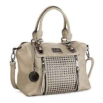 Woman Bowling bag double handle with zipper. Adjustable shoulder strap. Lining stamping and inside pocket. With Keychain. Faux leather 93147 leather