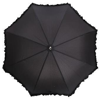 Womens/Ladies Black Lightweight Frilly Walking Umbrella