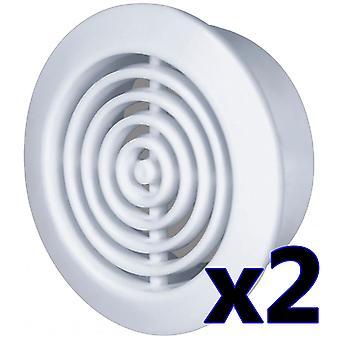 White/Brown 45mm Diameter Hole 2x Round Door Air Vent Grille Woodwork Furniture