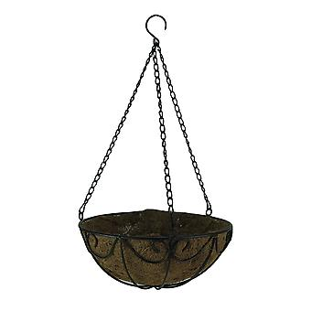 10 Inch Diameter Black Scroll Metal Hanging Basket with Coconut Fiber Liner