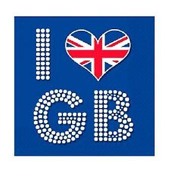 Unie Jack ik liefde GB servetten - 16 per pak