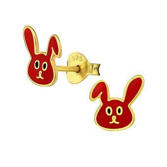 Кролик - 925 стерлингового серебра красочные уха шпильки - W35391x