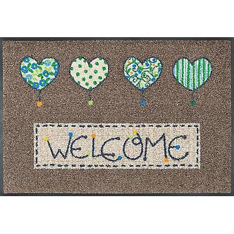 Welcome hearts 50 x 75 cm washable floor mat wash + dry