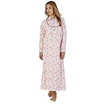 Slenderella ND2212 naisten Luxury flanelli kukka yö puku oloasut yöpaita