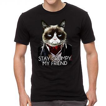 Grumpy Cat verblijf norse mannen zwart grappig T-shirt