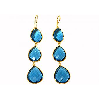 Gemshine örhängen 925 silverpläterad Topaz kvarts blå godis droppar 9 cm