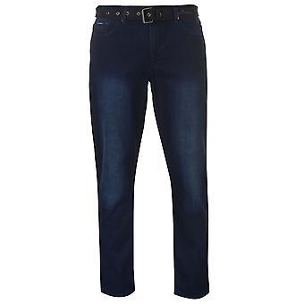 Pierre Cardin hombres Web cinturón Jeans Denim Fit recta pantalones largos los pantalones Casual
