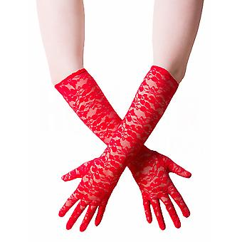 Sexy Lingerie Women's Gloves Lace Red Elbow Length Rose Design