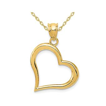 Open Heart Pendant Necklace in 14K Yellow Gold with Chain