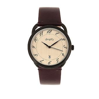 Simplify The 4900 Leather-Band Watch w/Date - Black/Plum