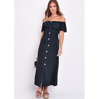 Bardot frilled pulsante attraverso una linea Maxi Dress Black