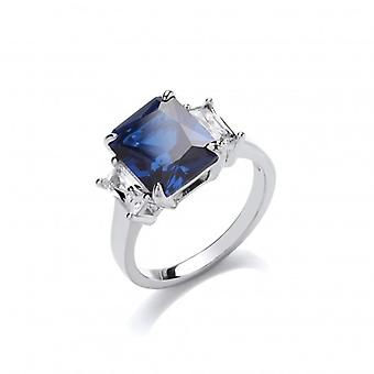 Cavendish French Silver and Sapphire CZ Victoria Ring