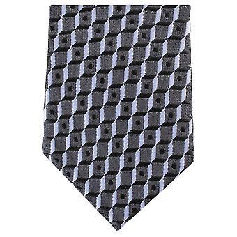 Knightsbridge Neckwear Square Skinny Polyester Tie - Black/Grey
