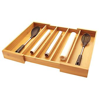 Woodquail Bamboo Expandable Utensils Flatware Cutlery Tray, Kitchen Drawer Inserts Organiser
