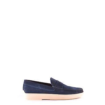 Tod's Ezbc025033 Men's Blue Suede Loafers