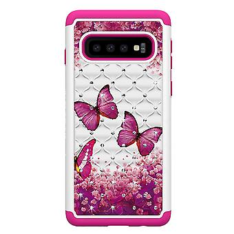 Samsung Galaxy S10 TPU-Shell Armor Extra-durable-rosa mariposas
