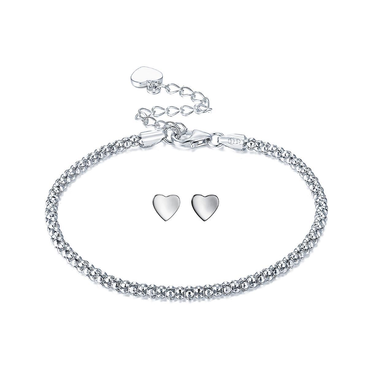 925 Sterling Silver Simple Style Popcorn Bracelet With Studs