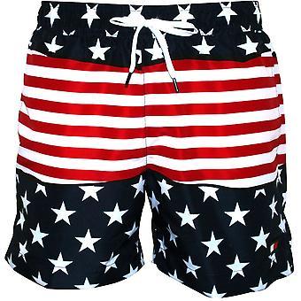 Tommy Hilfiger Stars & Stripes Print Swim Shorts, Navy/Red/White