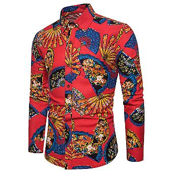 Allthemen Men's Long Sleeve Shirt Cotton Linen Folding Fan Printed Shirt