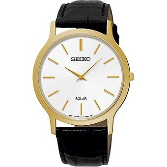 Seiko Mens Solar Powered Watch Analogue Classic Display and Leather Strap