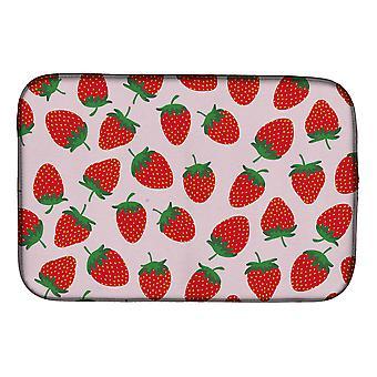 Carolines Schätze BB5146DDM Erdbeeren auf rosa Schale trocknen Matte