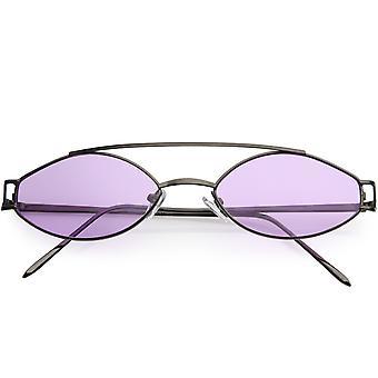 Retro Modern Metal Color Lens Crossbar Oval Sunglasses