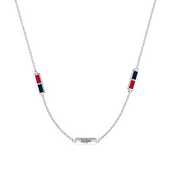 St Louis Cardinals Sterling Silver Engraved Triple Station Necklace In Red and Blue