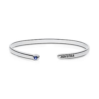Hofstra University Engraved Sterling Silver Sapphire Cuff Bracelet