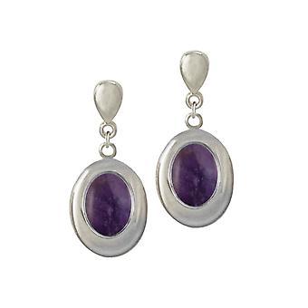 Eeuwige collectie Idaho Amethyst zilveren Toon Drop Clip op oorbellen