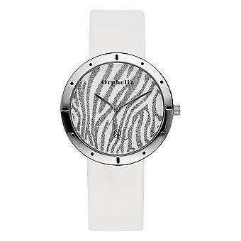 ORPHELIA hyvät analoginen kello Zebra valkoinen nahka 122-1709-11
