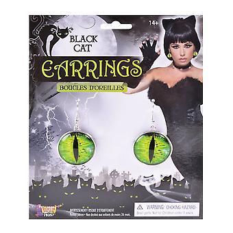 Bristol Novelty Black Cats Eyes Earrings