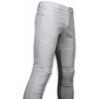Ripped Jeans - Slim Fit Biker Jeans Basic Ripped - Wit