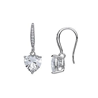 Jewelco London Rhodium Plated Sterling Silver Heart Cubic