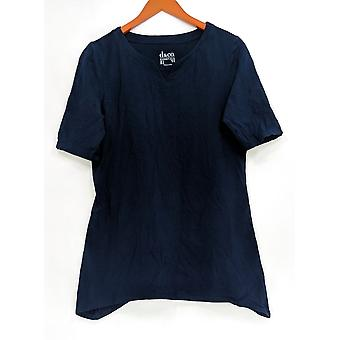 Denim & Co. Kobiety's Top Essentials Perfect Jersey Trapeze Blue A305040