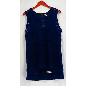 C. wonder mouwloos Pointelle trui met Hi-Low hem tuniek blauw A276232