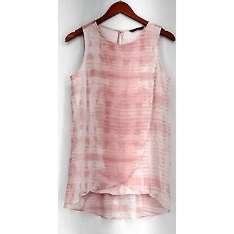 H by Halston Top Sleeveless Knit Top w/ Printed Overlay Pink New A27708