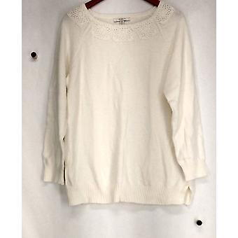 Liz Claiborne York Sweater Long Sleeved Crewneck Cream A268717