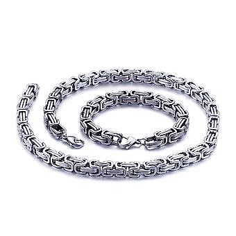 5mm royal chain pulsera collar de hombres collar de cadena de hombres, cadenas de acero inoxidable de plata de 80 cm