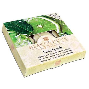 Lime Splash Box of Tea Light Candles
