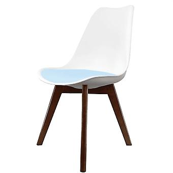 Fusion Living Eiffel Inspiré Blanc et Bleu Dining Chair with Squared Dark Wood Legs