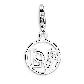 925 Sterling Silver Fancy Lobster Closure Polished Love in Circle With Lobster Clasp Charm Pendant Necklace Measures 27x